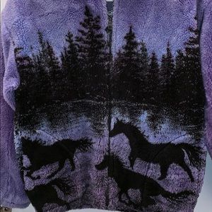 Purple horse print fleece jacket girls size 16